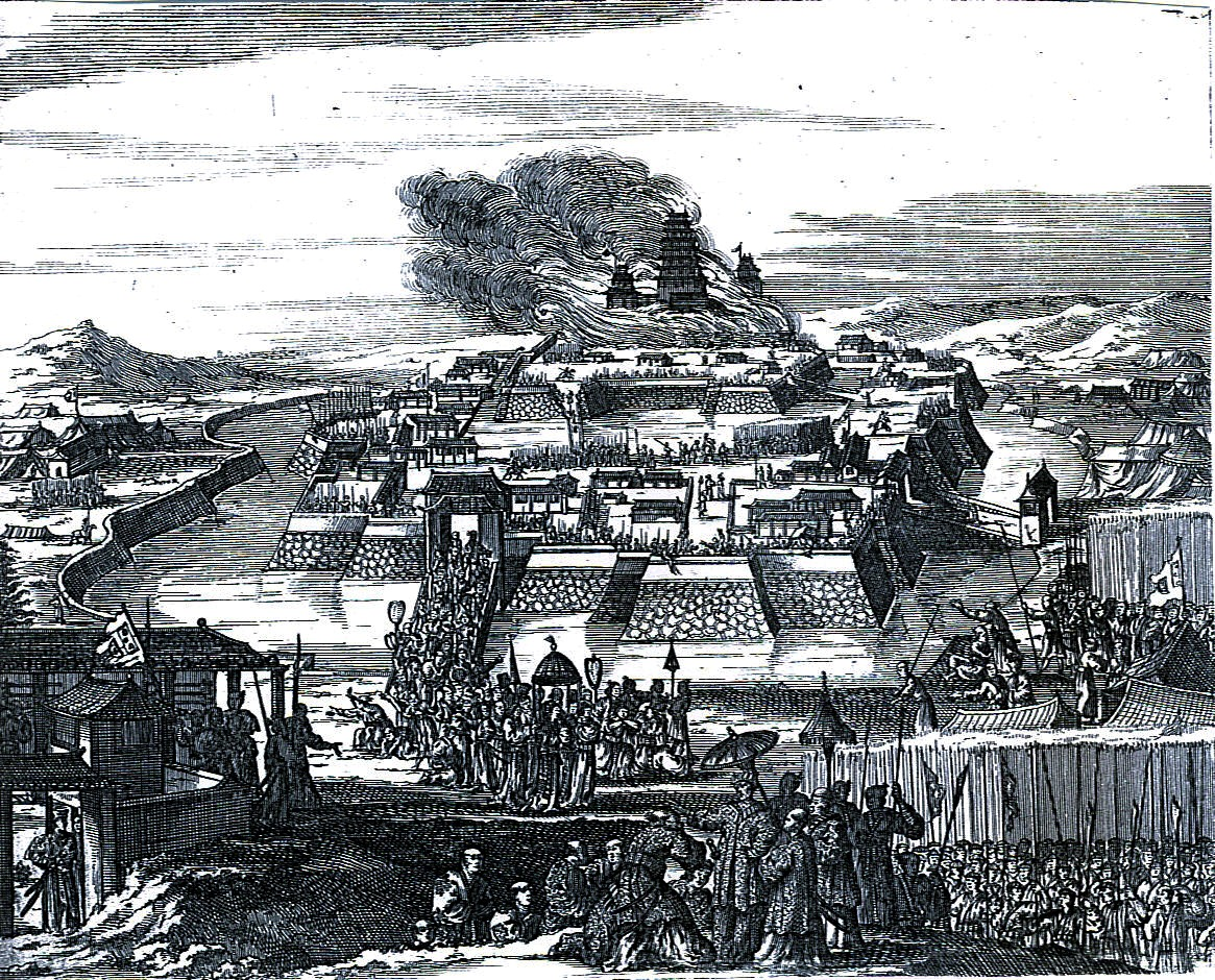 「大坂城炎上(1663年絵図)」(ニューヨーク公立図書館所蔵、Wikipediaより20210830ダウンロード)の画像。