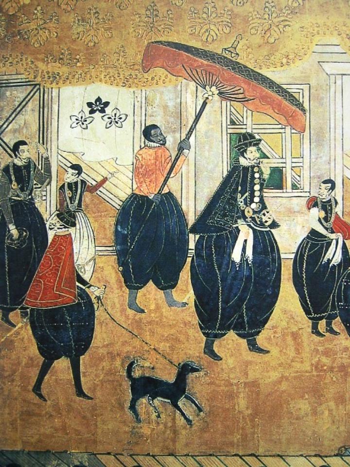 日本に到着した宣教師たち(16世紀ころ、Wikipediaより20210828ダウンロード)の画像。