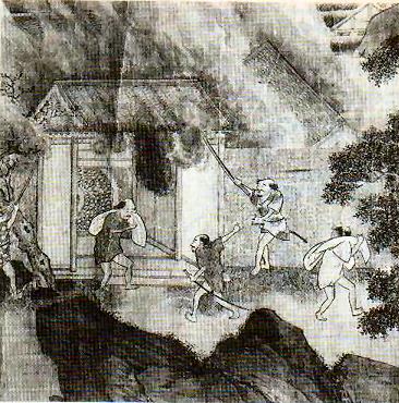 略奪を働く倭寇(Wikipediaより20210827ダウンロード)の画像。