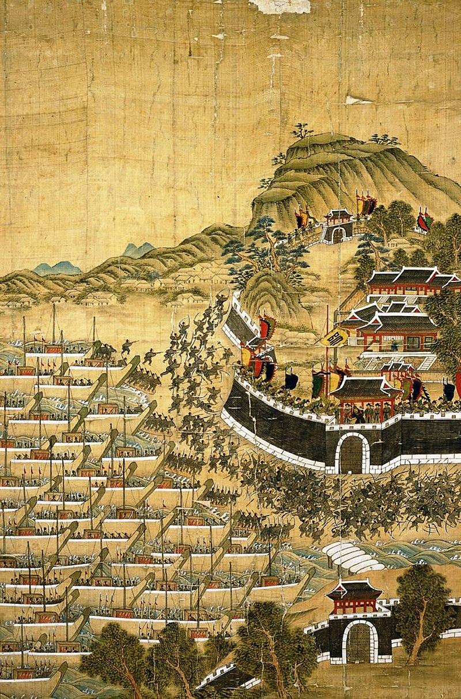 釜山地鎮の戦い(「釜山鎮殉節図、Wikipediaより20210829ダウンロード)の画像。